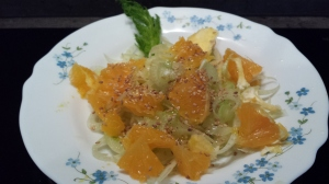 Meal of the week - an orange and fennel salad topped with sesame and walnut oil