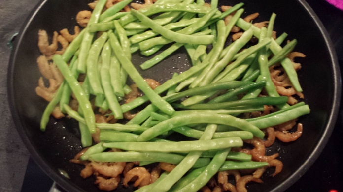 A quick stir-fry in the pan with some dried shrimp for a taste of home for the Turtle