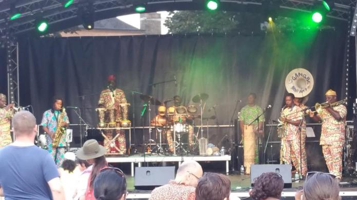 The Gangbé Brass Band performing at the MeYouVillage stage.