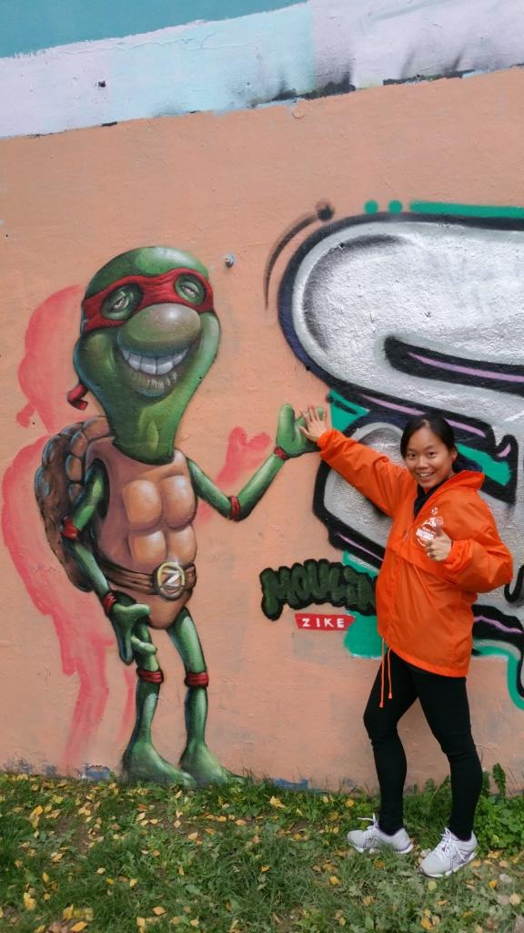 Although it was the Ninja Turtle's first experience in volunteering at a marathon, it certainly will not be her last.